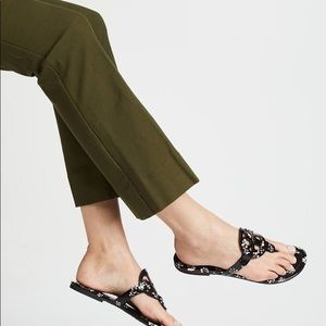 Tory Burch black floral patten leather sandals